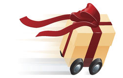 Fast Present Gift on Wheels Concept Royalty Free Stock Photo