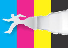 Fast printing concept. Paper silhouette of  running man ripping paper with print colors with place for your text or image.  Concept for presenting fast color Stock Photo