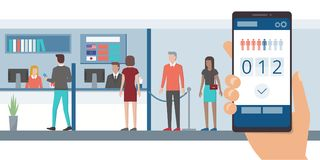 Fast queue app on smartphone. Fast and easy queue app on a smartphone and people waiting in line at the bank front office vector illustration