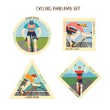 Fast racing cyclists emblems set Stock Photo