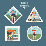 Fast racing cyclists emblems set Stock Photography