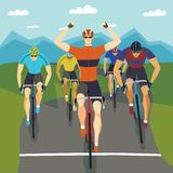 Fast racing cyclists set Stock Photo