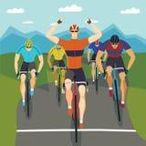 Fast racing cyclists set Stock Photo