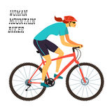 Fast racing mountain girl cyclist Royalty Free Stock Image