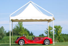 Fast red cabriolet car Royalty Free Stock Images
