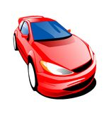 Fast Red Car. 2D illustration of a fast stylish 3-door car Royalty Free Stock Image