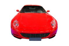 Fast red car front view isolated Stock Photos