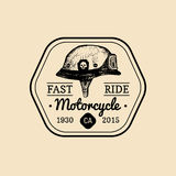 Fast Ride biker store logo. Motorcycle club sign. Garage label. Vector illustration of hand drawn helmet with glasses. Stock Photo