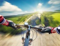 Fast ride on mountain rocks Stock Photo