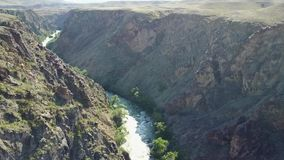 Fast river runs through a rocky canyon. On the banks of the river grow different green trees and bushes. A long canyon with a beautiful view of the river. Blue stock footage