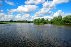 Fast river under blue sky. River under beautiful blue sky with white clouds Royalty Free Stock Image