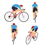 Fast road biker set from different view. Racing cyclist in action set. Fast road biker from side, front, back and three quarter view. Editable vector stock illustration
