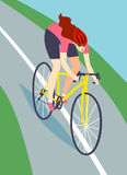 Fast road  biker woman Royalty Free Stock Images