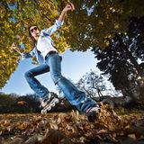 Fast rollerblading Royalty Free Stock Images