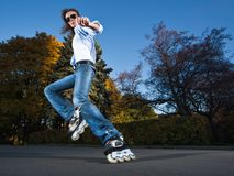 Fast rollerblading Royalty Free Stock Photos