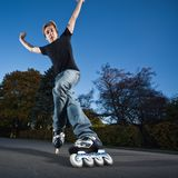 Fast rollerblading Stock Photo