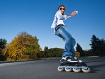 Fast rollerblading Royalty Free Stock Photography