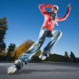 Fast rollerblading Stock Photography