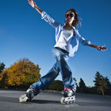 Fast rollerblading Stock Image