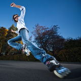 Fast rollerblading Royalty Free Stock Image