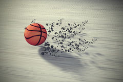 Fast rolling basketball. 3d rendering of a fast rolling basketball on floor Royalty Free Stock Images