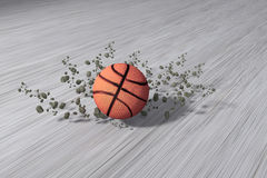 Fast rolling basketball. 3d rendering of a fast rolling basketball on floor Stock Photography