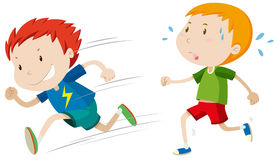 Fast runner and slow runner Stock Images