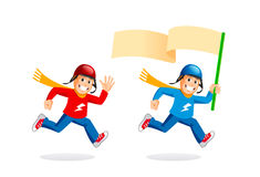Fast running delivery boy. Running young man or delivery boy. Vector illustrations set Royalty Free Stock Images