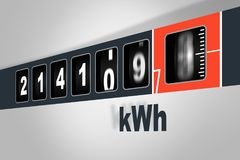 Fast running electricity meter - power consumption concept Stock Photo