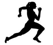 Fast running woman. Sprinter runner black silhouette royalty free illustration
