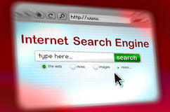 FAST Search Engine window. An OS window shows a web search page Inside the page some Search engine elements: a text field (type here) a search green button, some stock illustration