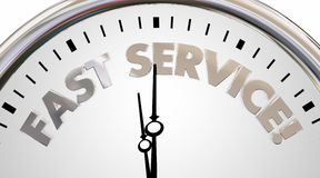Fast Service Company Clock Time Speed Words Stock Photos