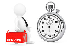 Fast Service Concept. 3d Person with Red Toolbox and Stopwatch Royalty Free Stock Photography