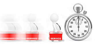 Fast Service Concept. 3d Persons with Red Toolbox and Stopwatch Royalty Free Stock Photos
