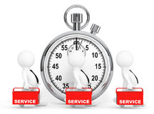 Fast Service Concept. 3d Persons with Red Toolbox and Stopwatch Stock Image