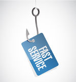 Fast service hook tag sign concept Stock Image