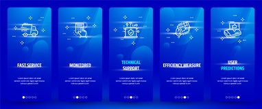 Fast service, Monitored, Technical support, Efficiency measure, User predictions Vertical Cards with strong metaphors. Template for website design Stock Image