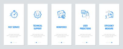 Fast service, Technical support, Monitored, User predictions, Efficiency measure Vertical Cards with strong metaphors. Template for website design Royalty Free Stock Images