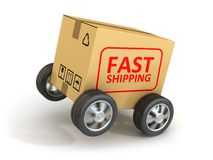 Fast Shipping Cardboard. This is a 3d rendered computer generated image. Isolated on white Royalty Free Stock Photography