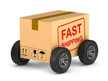 Fast shipping cargo box with wheel on white background. Isolated. 3D illustration Royalty Free Stock Photo