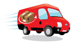 Fast shipping courier van. A  cartoon representing a funny red courier van running and delivering some packages- fast shipping concept Royalty Free Stock Photo