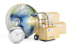 Fast shipping and delivery around the World concept, 3D renderin Stock Photography