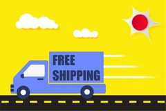 Fast shipping delivery truck flat icon for apps and websites. Ex. Press delivery service Royalty Free Stock Image