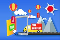 Fast shipping delivery truck flat icon for apps and websites. Ex. Press delivery service Stock Photos