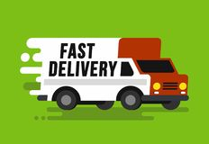 Fast shipping delivery truck in flat style. Vector illustration Stock Images
