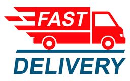 Fast shipping delivery truck, shipping service -. Fast shipping delivery truck, shipping service – stock Royalty Free Stock Photos