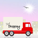 Fast shipping. Illustration of truck fast shipping Stock Photo