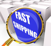 Fast Shipping Packet Shows Quick Deliveries and Transportation Royalty Free Stock Photos