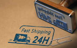 Fast Shipping, Twenty Four hours or One Day. Rubber stamp and carton box with focus on fast shipping text stamped on the cardboard, 3D illustration Stock Photo