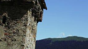 Svan tower Time Lapse. Fast shooting free standing Svan towers in Mestia, Svaneti, Georgia stock video